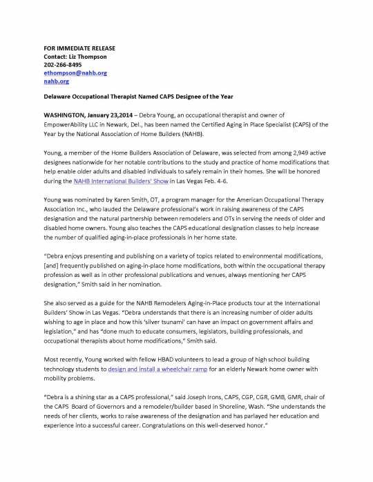 Press Release Debra_YoungCAPS 2013