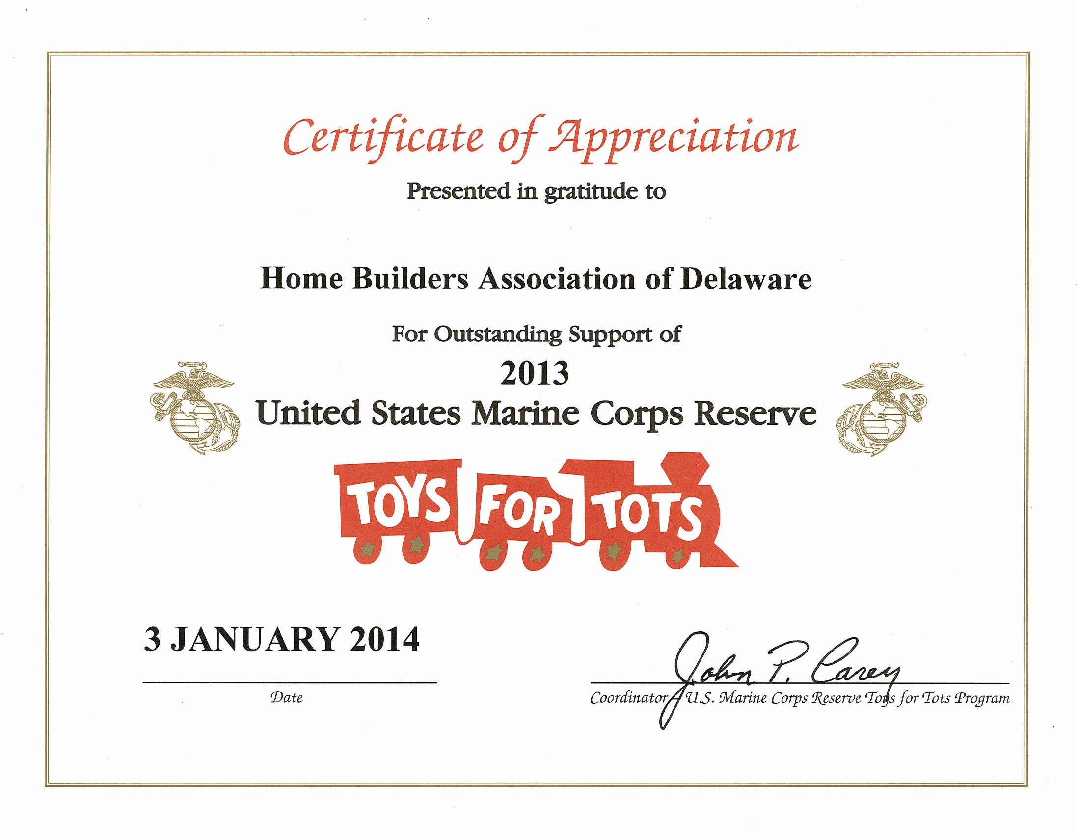 Toys For Tots Certificate : Home builders recognized for toys tots campaign