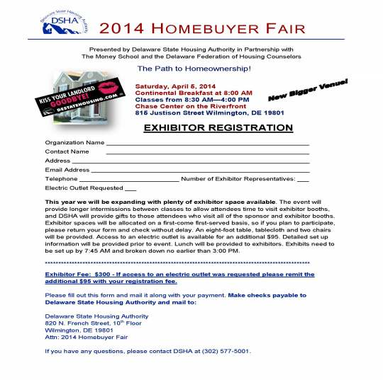 2014 Homebuyer Fair Exhibitor Registration Form vK