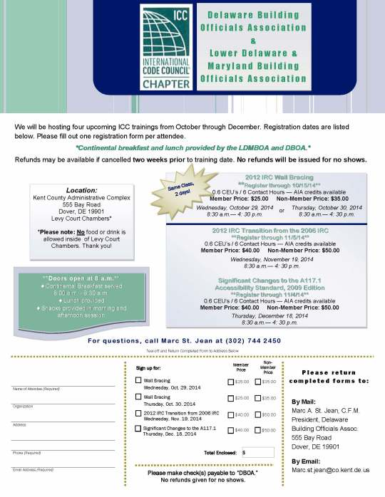ICC Training Flyer Fall 2014