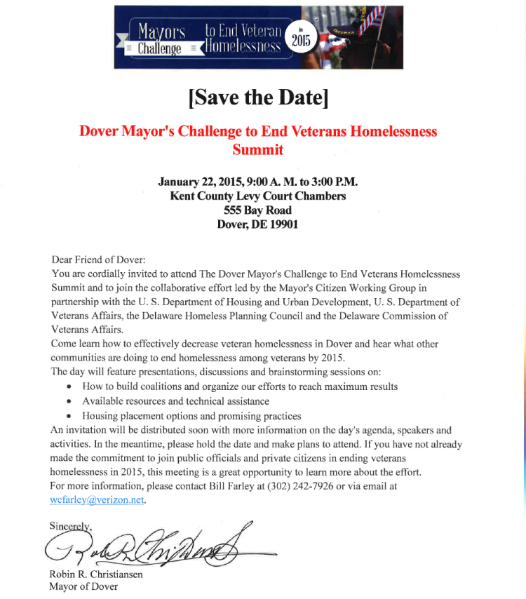 Dover Mayors Challenge to end Veteran Homelessness
