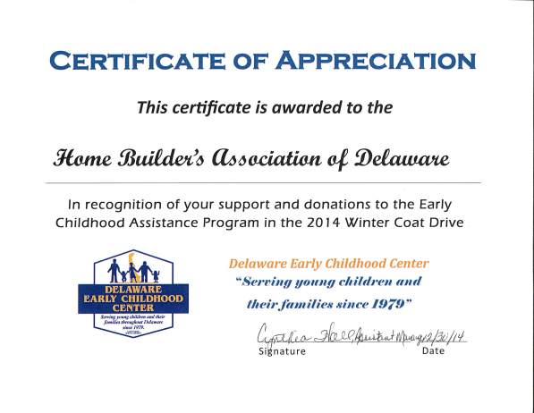 Delaware Early Childhood Certification of Appreciation