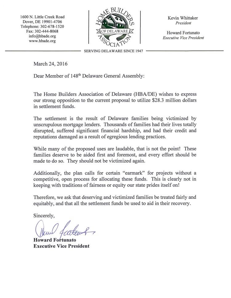 LH signed settlement funds letter
